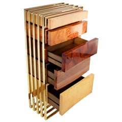 "Luxury ""SoHo"" Modern and Contemporary Chest of Drawers in Exotic Woods and Brass"