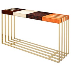 "Luxury ""SoHo"" Modern and Contemporary Console Table in Exotic Woods and Brass"