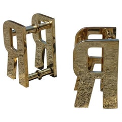 Luxury Solid Brass Handles Italian Design 1970s with Letter R Bright Gold