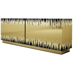 """Luxury """"Stockholm"""" Contemporary Modern Lacquered Sideboard in Blue and Gold"""