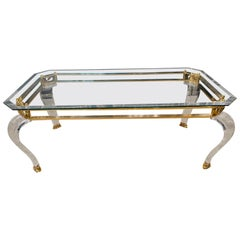 Luxury Table Acrylic with Brass Curved Legs in Acrylic High Quality