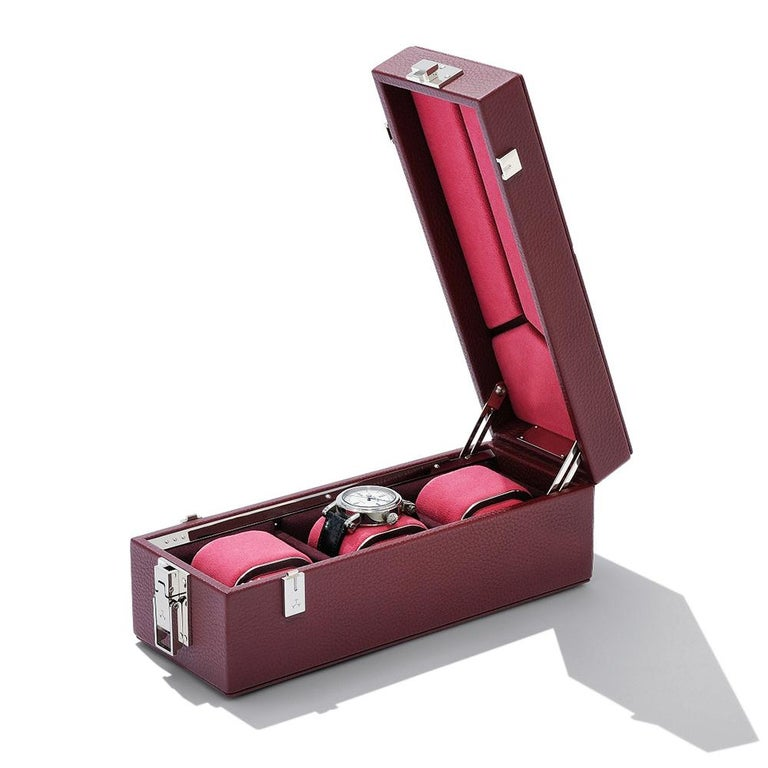 Luxury Triple Watch Box Brown or Blue or Redwine For Sale 3