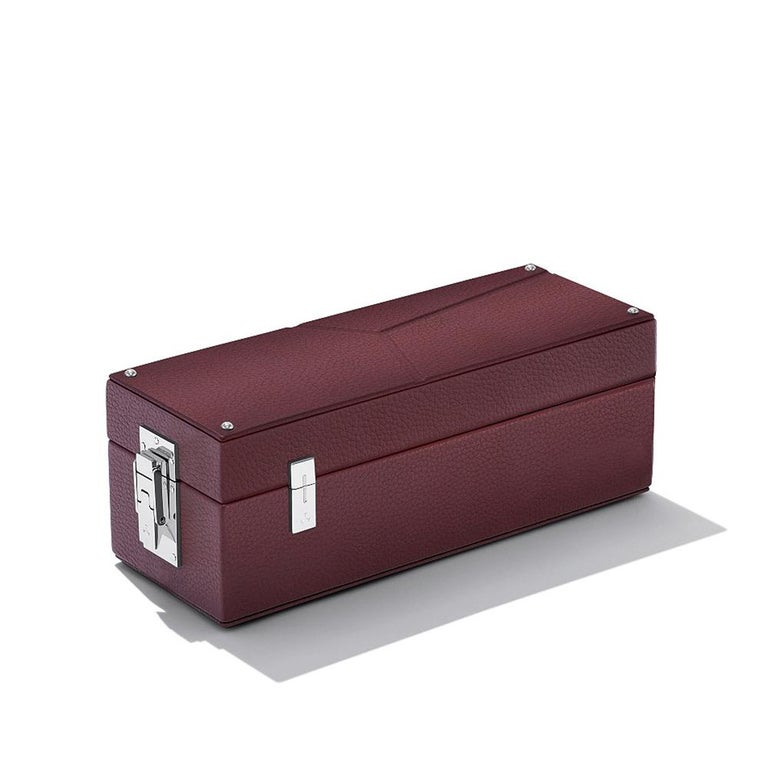 Luxury Triple Watch Box Brown or Blue or Redwine For Sale 4