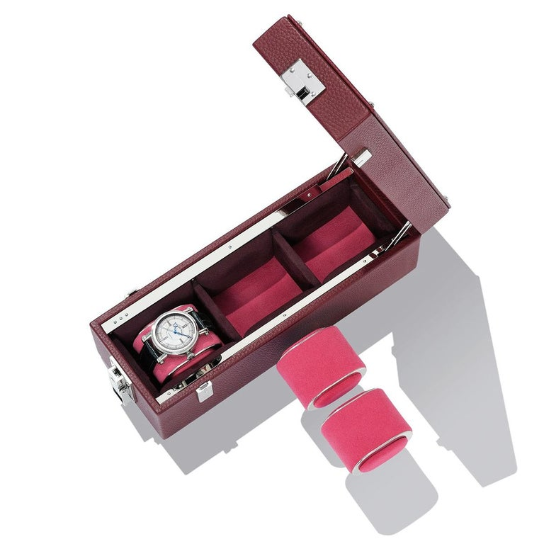 Luxury Triple Watch Box Brown or Blue or Redwine For Sale 5