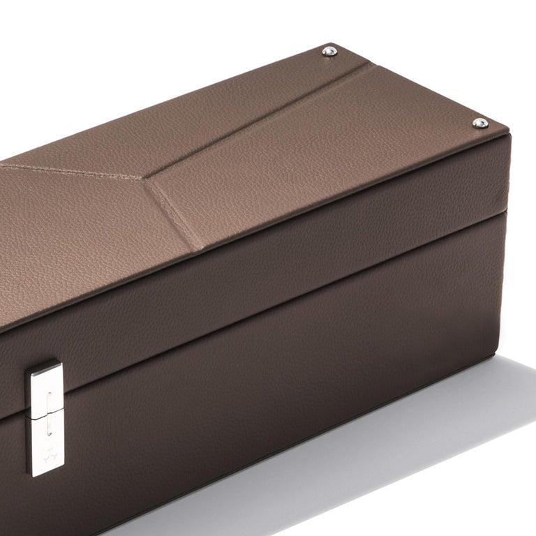 Contemporary Luxury Triple Watch Box Brown or Blue or Redwine For Sale