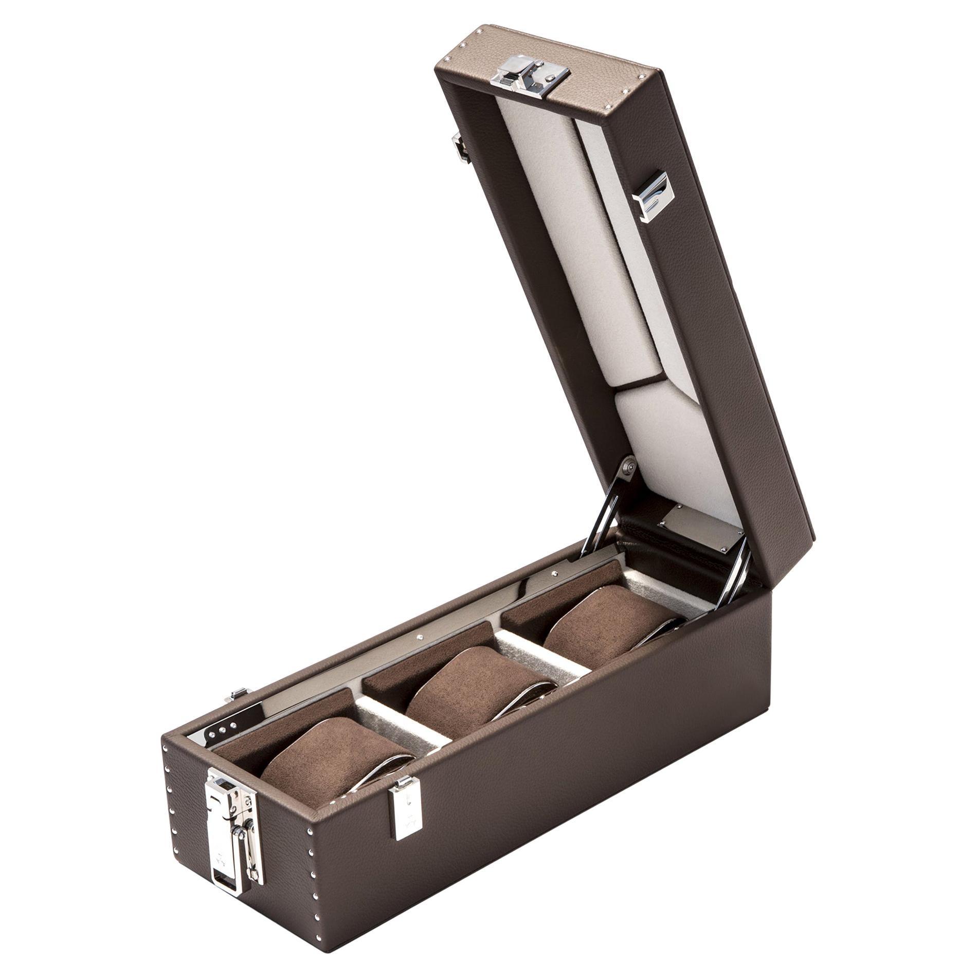 Luxury Triple Watch Box Brown or Blue or Redwine