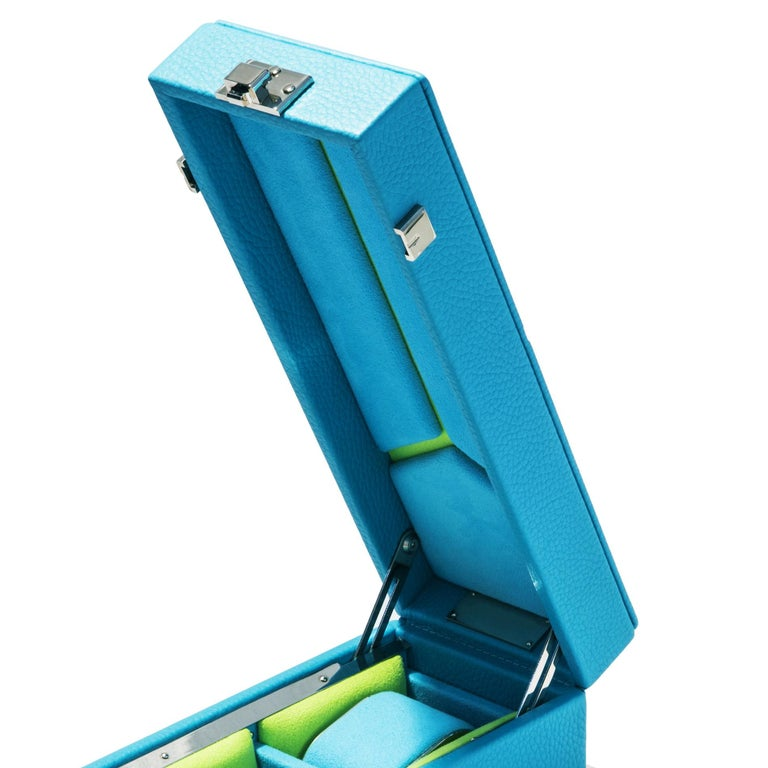 Hand-Crafted Luxury Triple Watch Box Turquoise or Red For Sale