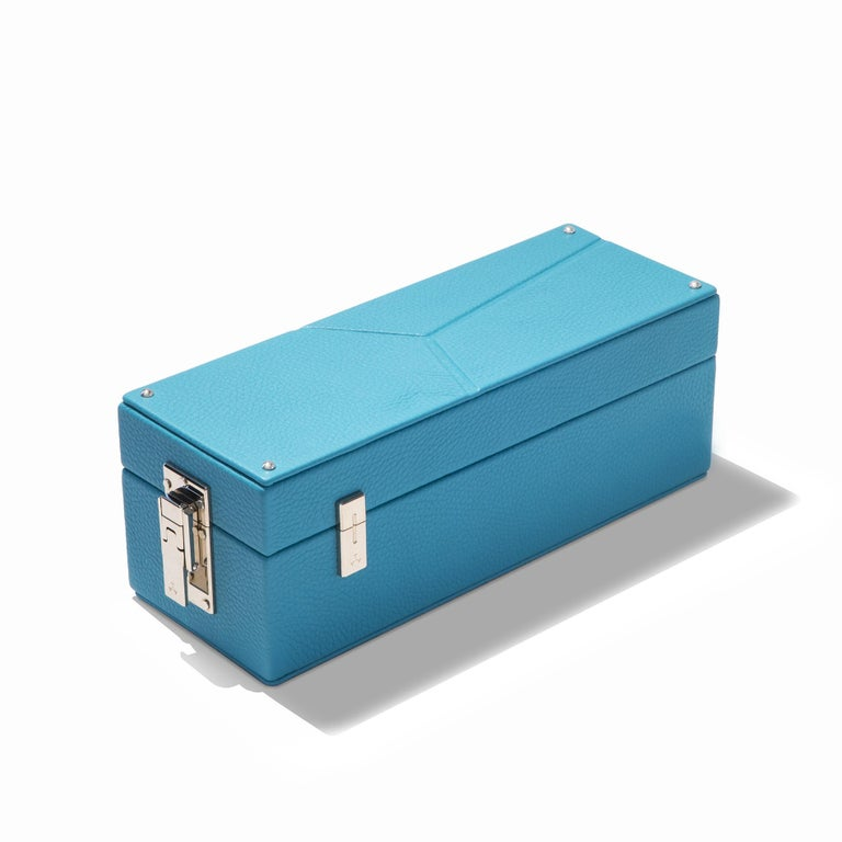 Contemporary Luxury Triple Watch Box Turquoise or Red For Sale