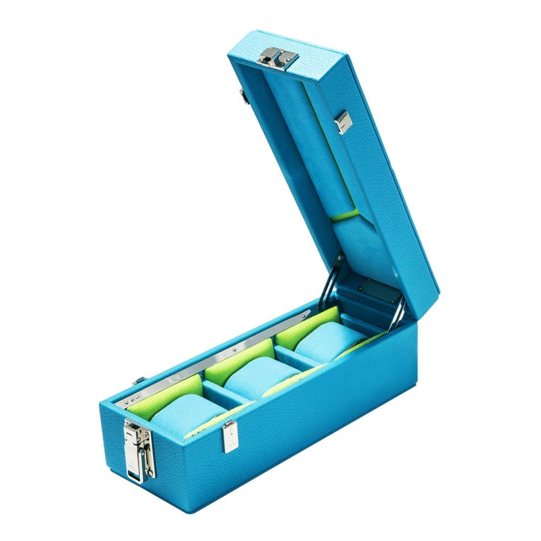 Luxury Triple Watch Box Turquoise or Red For Sale