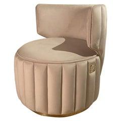 Luxury Upholstered Ivory Soft Velvet Stool, Signature