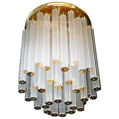 Luxury Venini Italian Modernist Crystal Straw, Gilt Brass Chandelier Flushmount