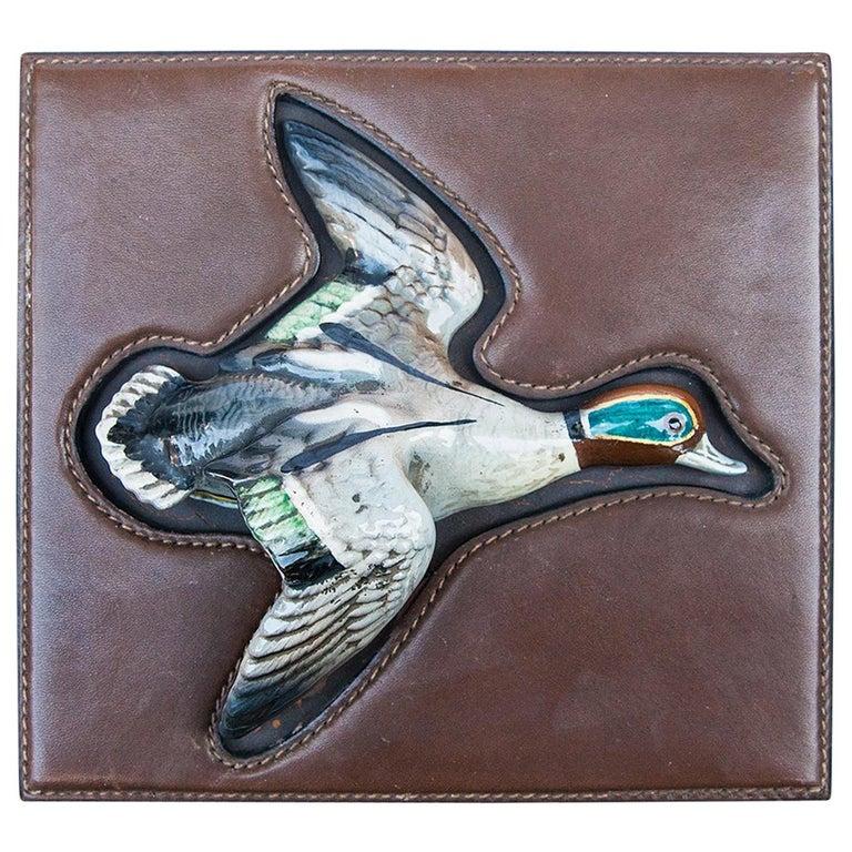 Luxury Vintage Gucci Porcelain Duck Leather Box For Sale