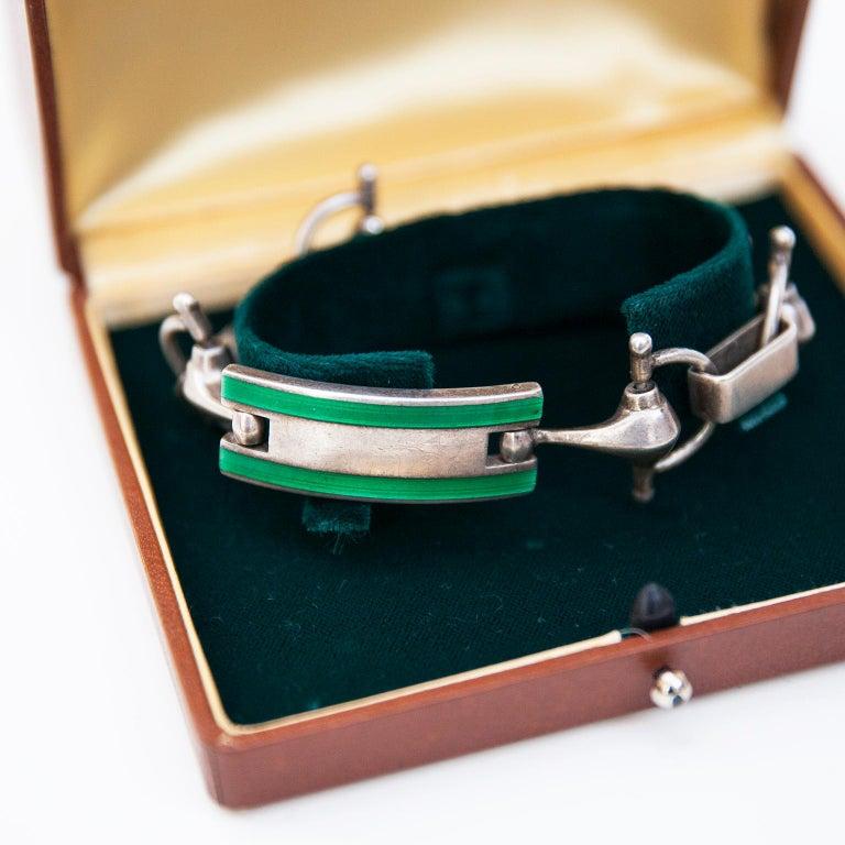 Hollywood Regency Luxury Vintage Gucci Sterling Silver Green Enamel Bracelet, 1970 For Sale