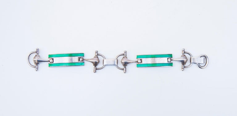 Italian Luxury Vintage Gucci Sterling Silver Green Enamel Bracelet, 1970 For Sale