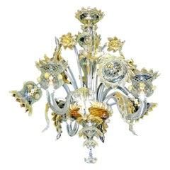 Luxury Fabiano Zanchi Italian Venetian Murano Gold Dusted Amber Glass Chandelier