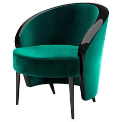 "Luxury ""Waldorf Astoria"" Club Chair or Armchair Emerald Velvet Upholstered"