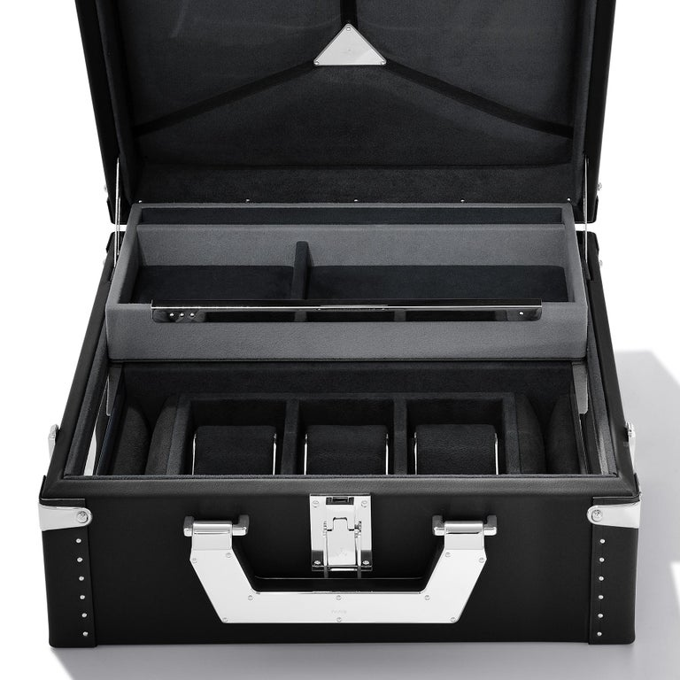French Luxury Watch Black or Brown Suitcase For Sale