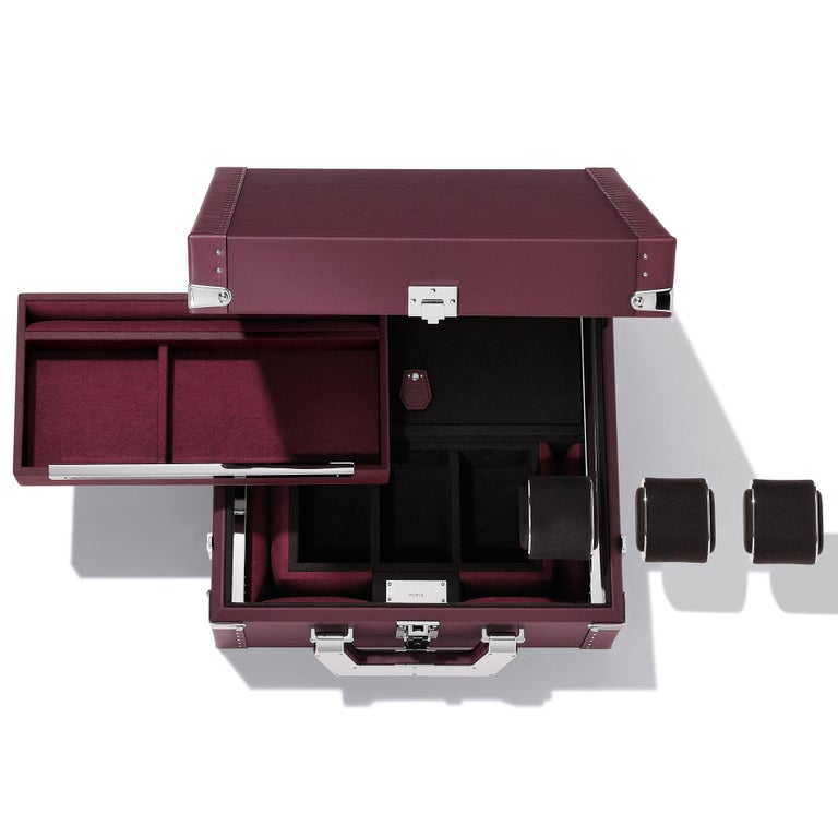Luxury Watch Blue or Redwine Suitcase For Sale 2