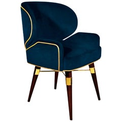 "Luxury ""William"" Midcentury Contemporary Velvet Upholstered Dining Living Chair"