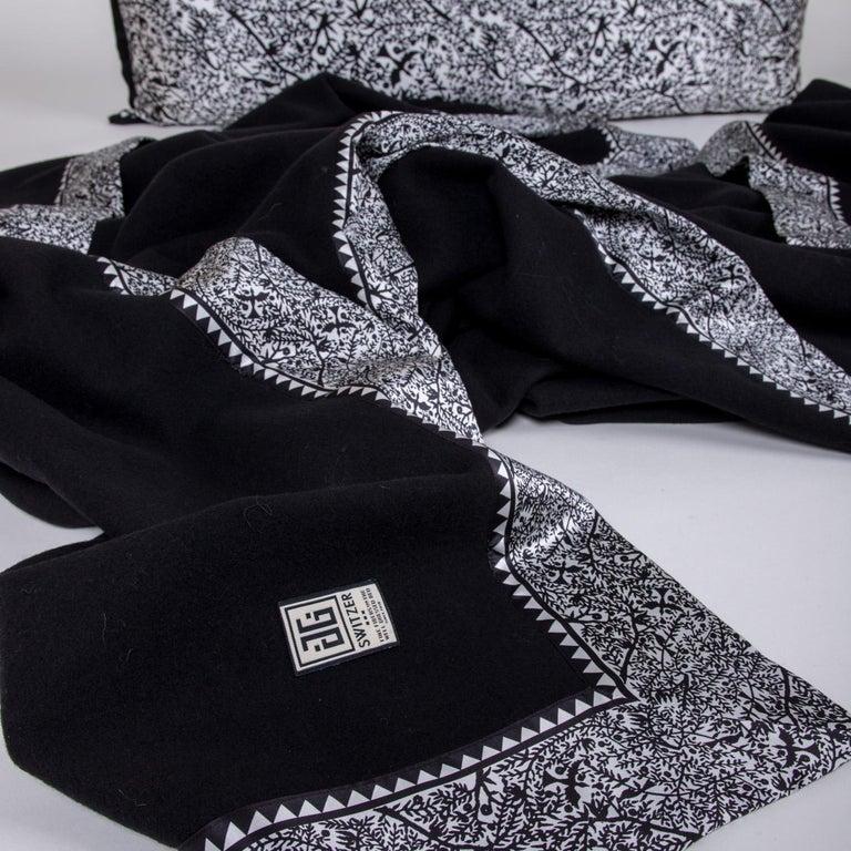 Merino Black King Size Blanket with Grey Print Border by JG SWITZER For Sale 2