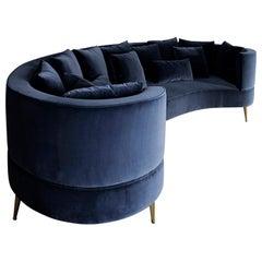 "Luxury XL ""Raquel"" Contemporary Modern Velvet Upholstered Curvy Living Room Sofa"