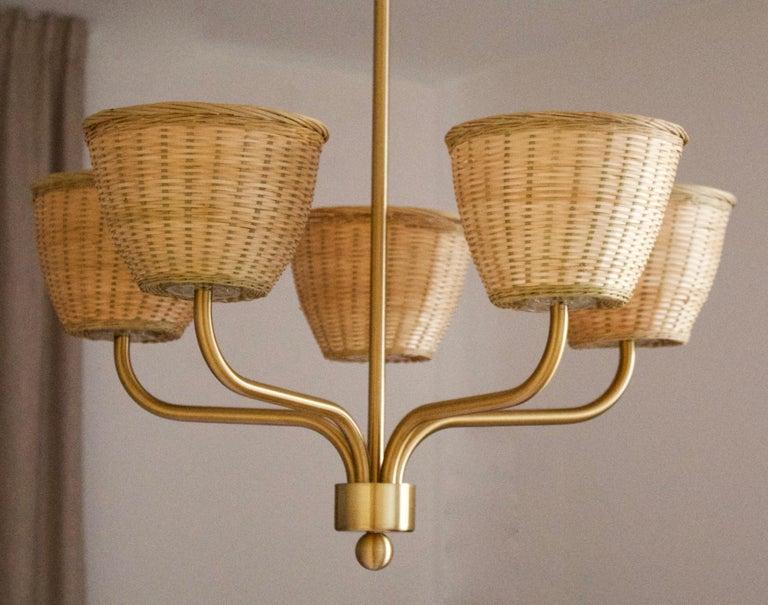 Mid-Century Modern Luxus, Chandelier Light, Brass, Rattan, Sweden, 1970s