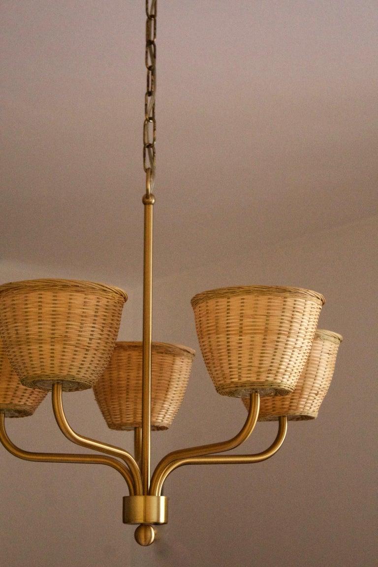 Luxus, Chandelier Light, Brass, Rattan, Sweden, 1970s In Good Condition In West Palm Beach, FL