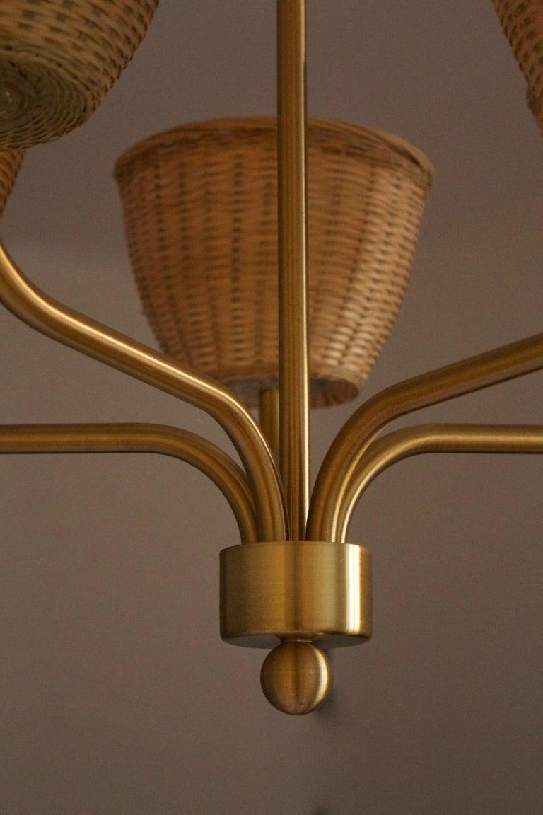Mid-20th Century Luxus, Chandelier Light, Brass, Rattan, Sweden, 1970s
