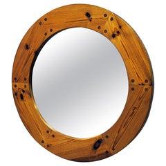 Luxus Round Wall Pine Mirror by Uno & Östen Kristiansson, 1950s, Sweden