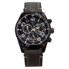 LUXUSA Stainless Steel Sapphire Crystal Chronograph Leather Strap Watch