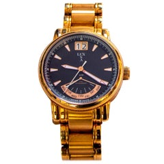 LUXUSA Stainless Steel Sapphire Crystal Rose Gold Strap Watch