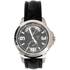 LUXUSA Stainless Steel Sapphire Crystal Swiss Parts Black Crocodile Strap Watch