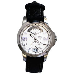 LUXUSA Stainless Steel Sapphire Crystal Swiss Parts Black Leather Strap Watch
