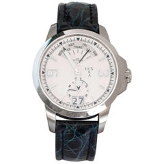 LUXUSA Stainless Steel Sapphire Crystal Swiss Parts Blue Crocodile Strap Watch