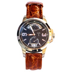 LUXUSA Stainless Steel Sapphire Crystal Swiss Parts Brown Crocodile Strap Watch