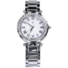 LUXUSA Stainless Steel Swarovski Crystal Encrusted Sapphire Crystal Watch