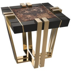 Apotheosis Square Side Table in Emperador Marble with Brass and Wood Base