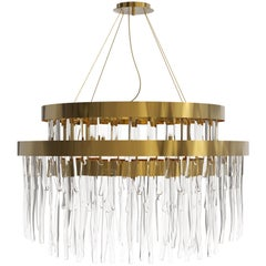 Luxxu Babel Round Chandelier with Brass Ring and Suspended Crystal Glass Details