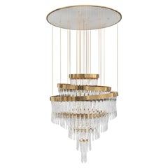 Luxxu Babel Chandelier in Brass and Crystal Glass
