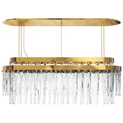 Luxxu Babel Snooker Chandelier in Gold-Plated Brass with Crystal Glass Details