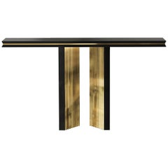Luxxu Beyond Console Table in Black Lacquer with Gold-Plated Brass