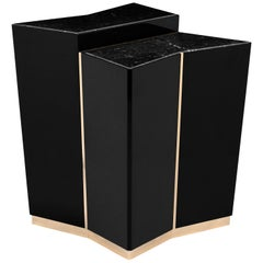 Luxxu Beyond Side Table in Black with Brass and Marble Detail