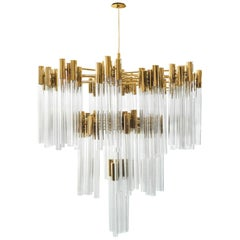 Luxxu Burj Chandelier in Gold-Plated Brass with Crystal Glass Details