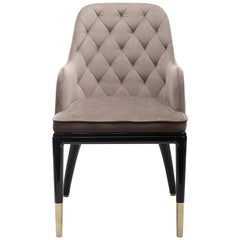 Charla Dining Chair in Beige Velvet with Brass Feet and Lacquered Wood Frame