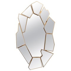 Crackle Mirror in Smoked Glass and Gold-Plated Brass