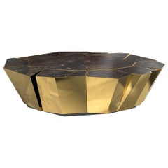 Crackle Coffee Table with Brass Base and Black Marble Top