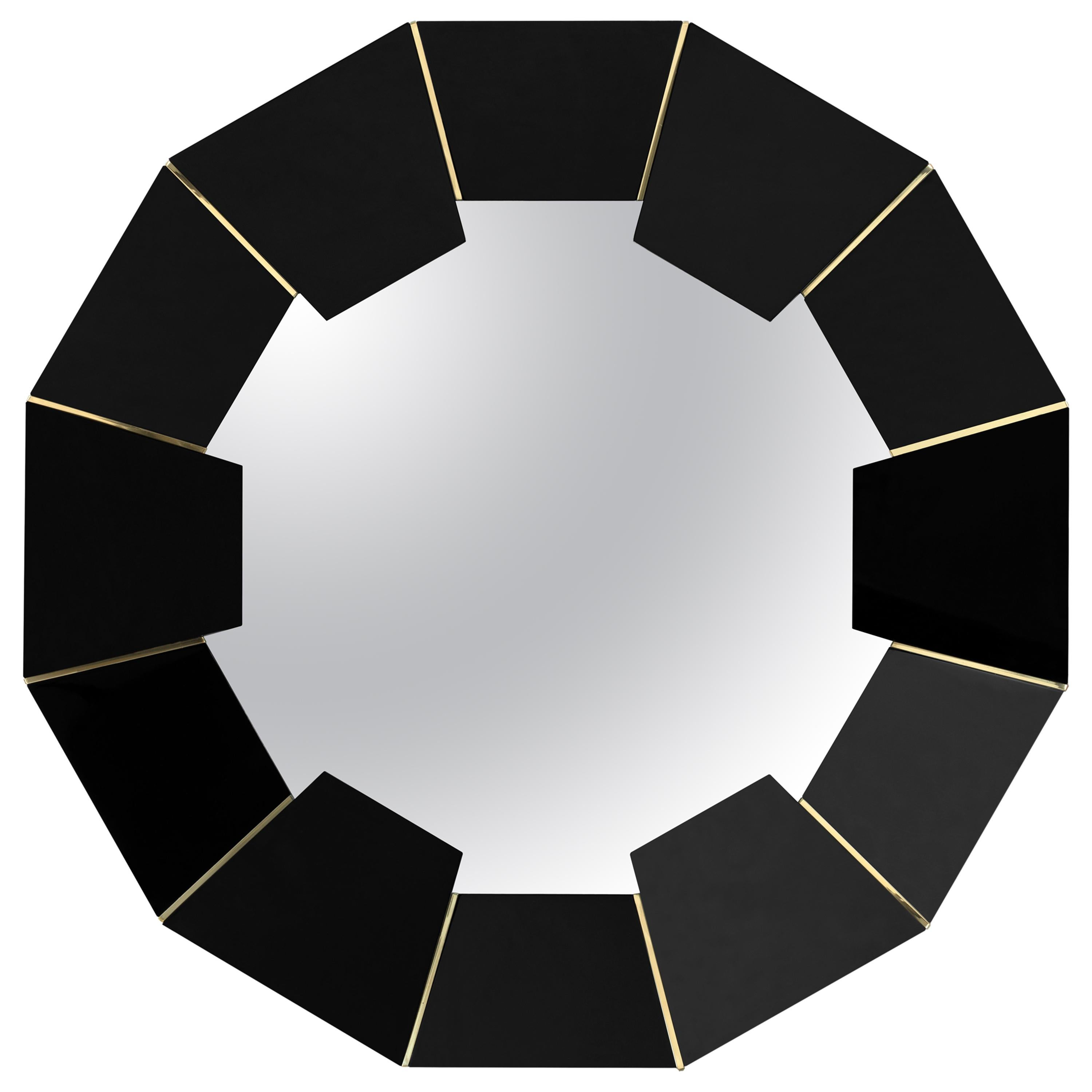 Darian Mirror with Black Lacquer and Brass Detailed Frame