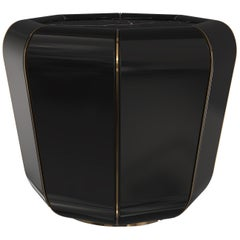 Luxxu Darian Round Side Table in Nero Marquina Marble with Brass Details
