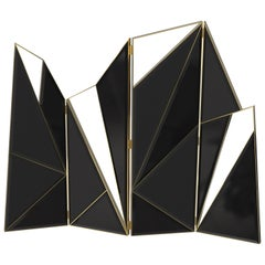 Delta Folding Screen in Black Lacquer Wood and Leather Panels with Brass Details