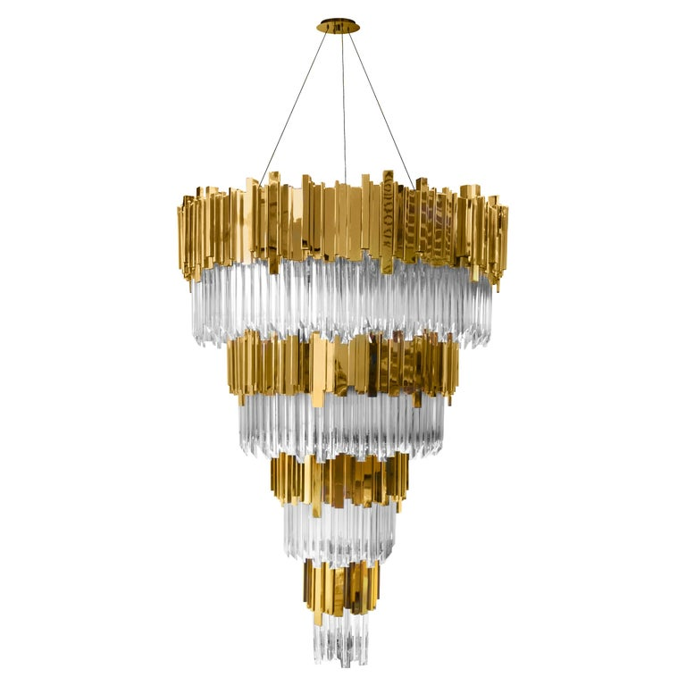Luxxu Empire Chandelier in Cascading Brass and Crystal Glass Layers For Sale